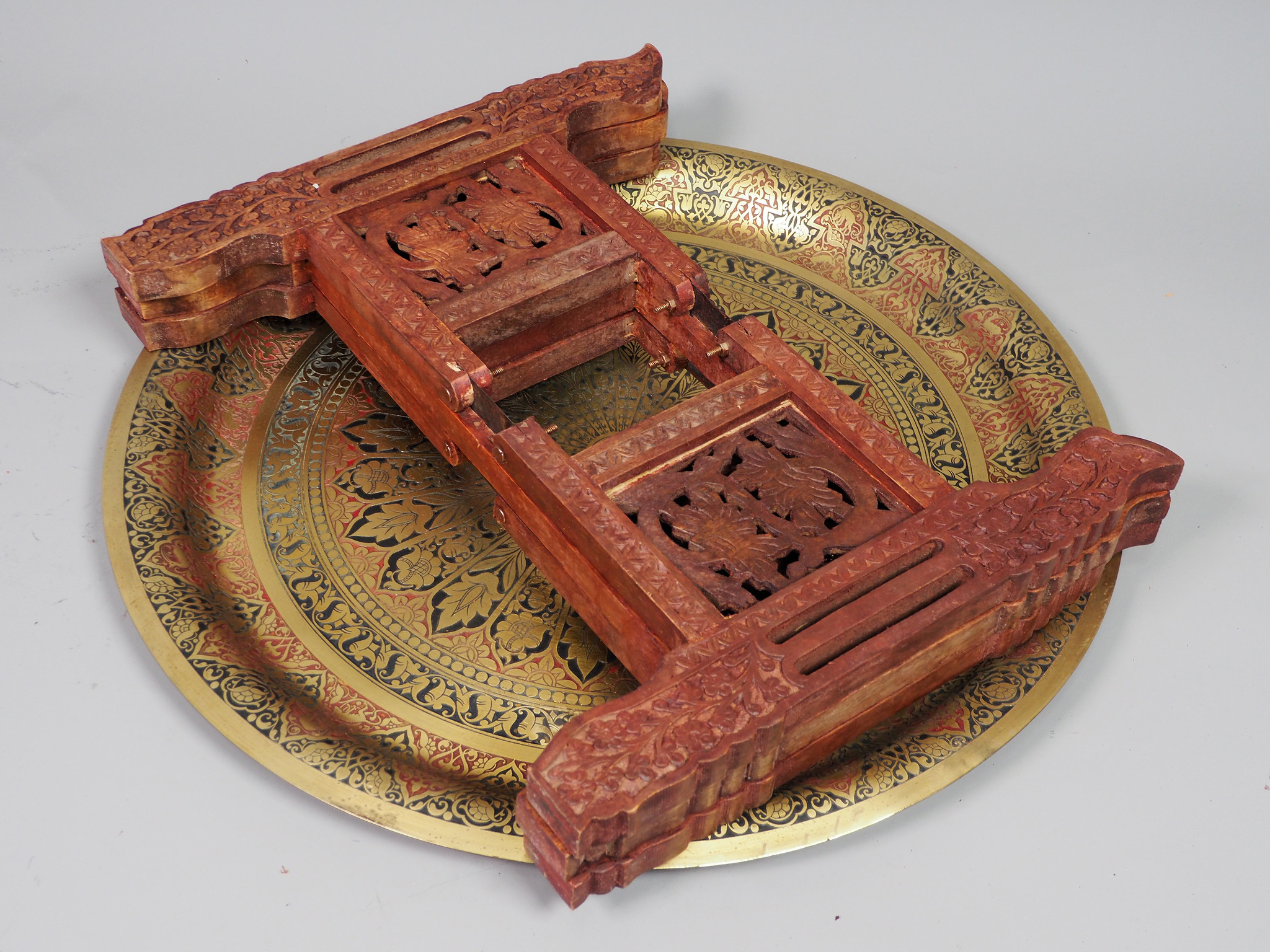 60  Ø cm antik  orient Messing tablett Teetisch beisteltisch   21/5