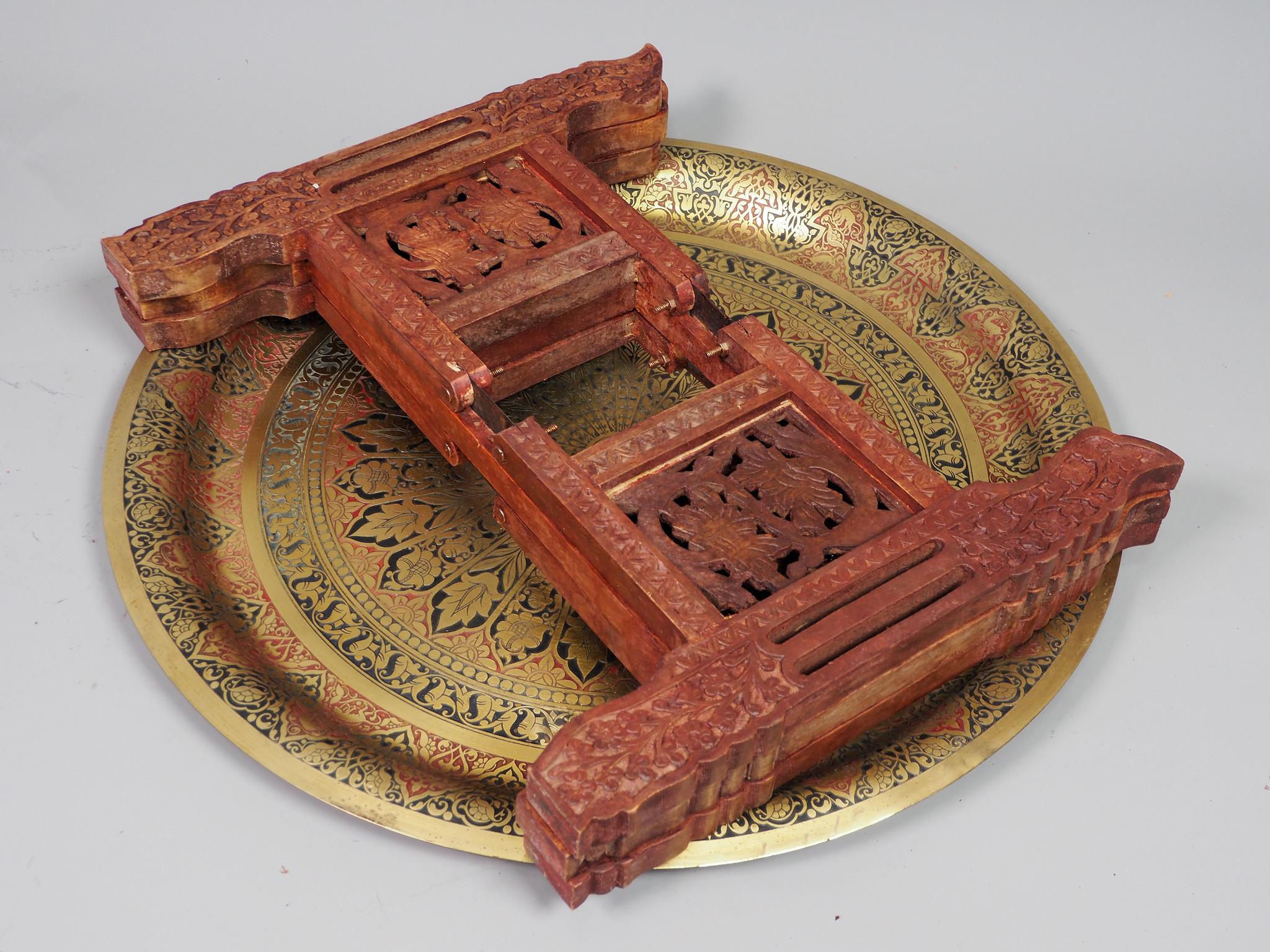 60 Ø  cm  Antique  orient  Brass table Tray  21/5