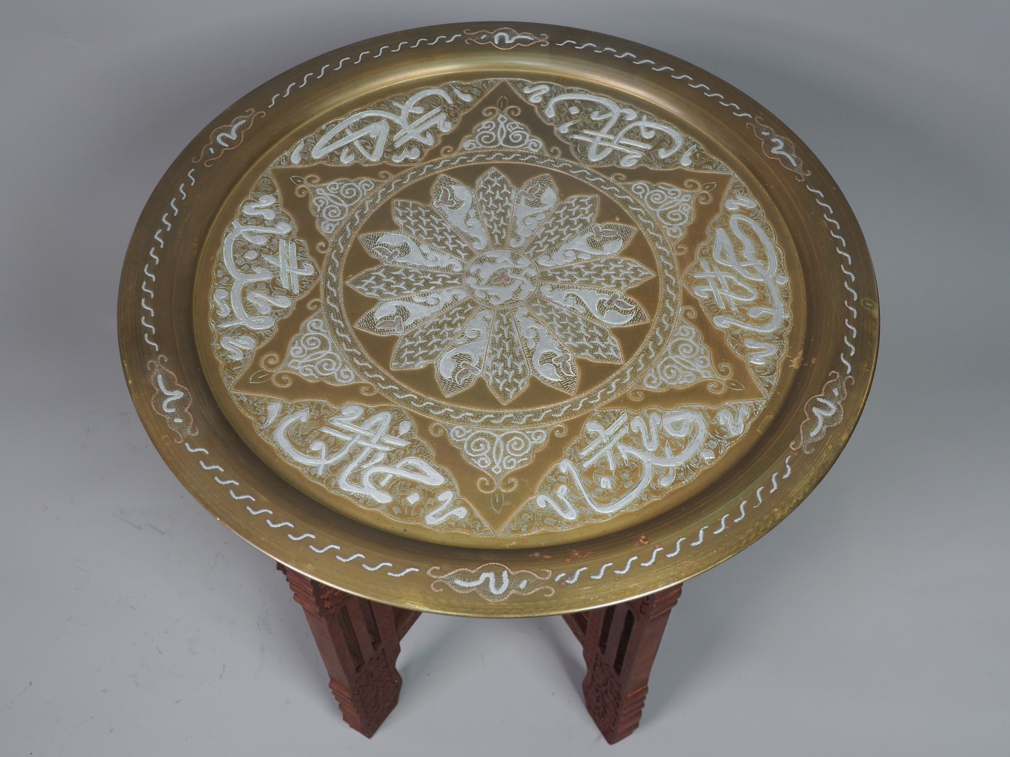 50 cm Antique ottoman orient Islamic  Hammer Engraved Brass table Tray Syria Morocco, Egypt Mamluk Cairoware with arabic calligraphy 21/4