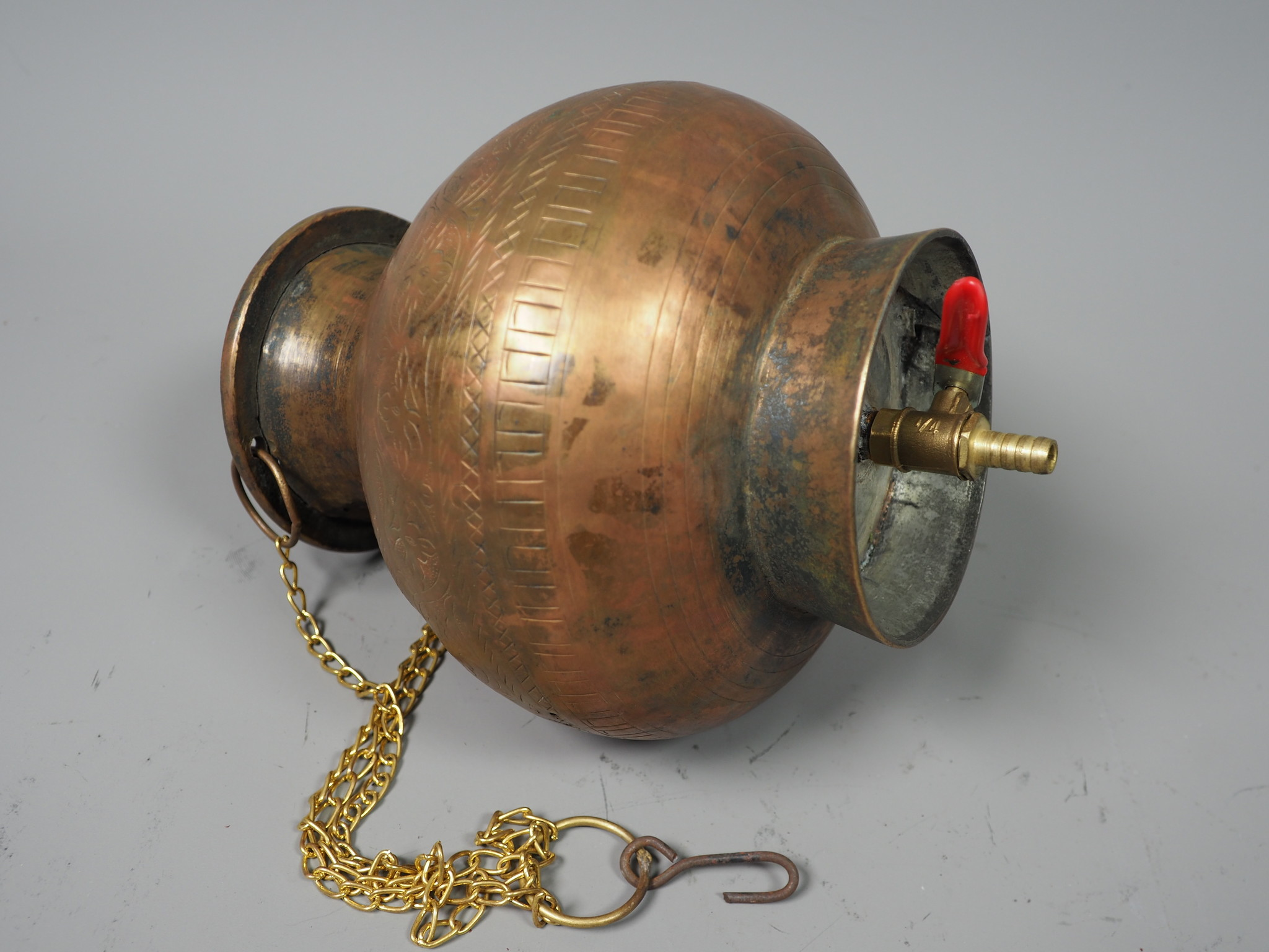 antique solid copper orient Ayurvedic Shirodhara Panchakarma oil therapy Yoga Dhara vessel Patra india -No:  21/18