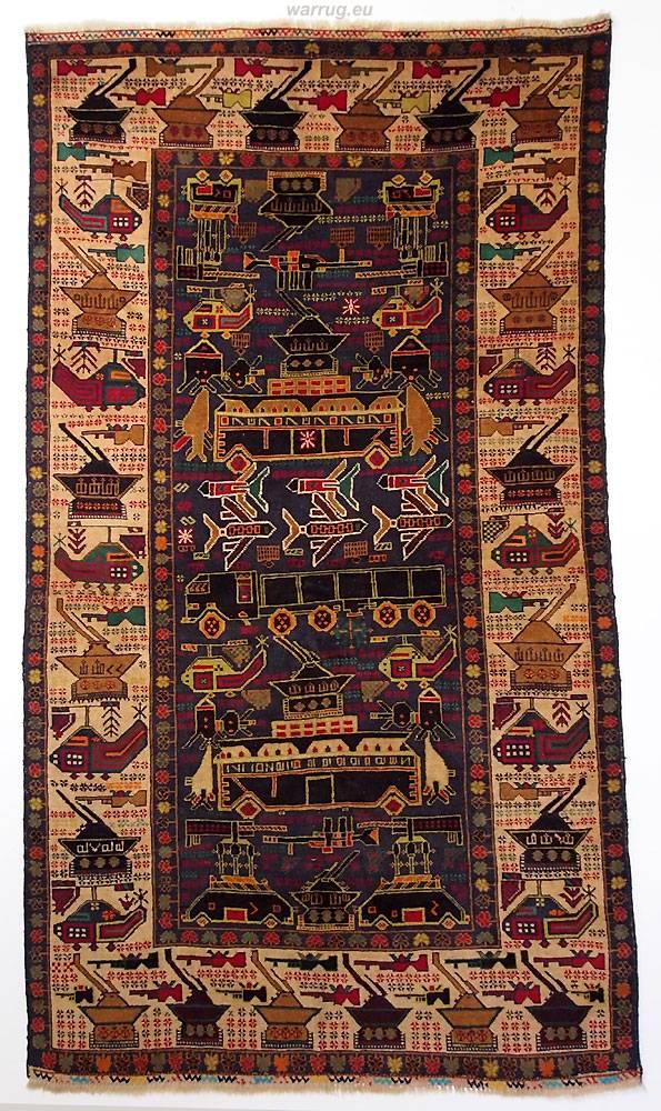 215x120 cm  original  Kriegsteppich aus Afghanistan – handgeknüpft Nr:2014/15