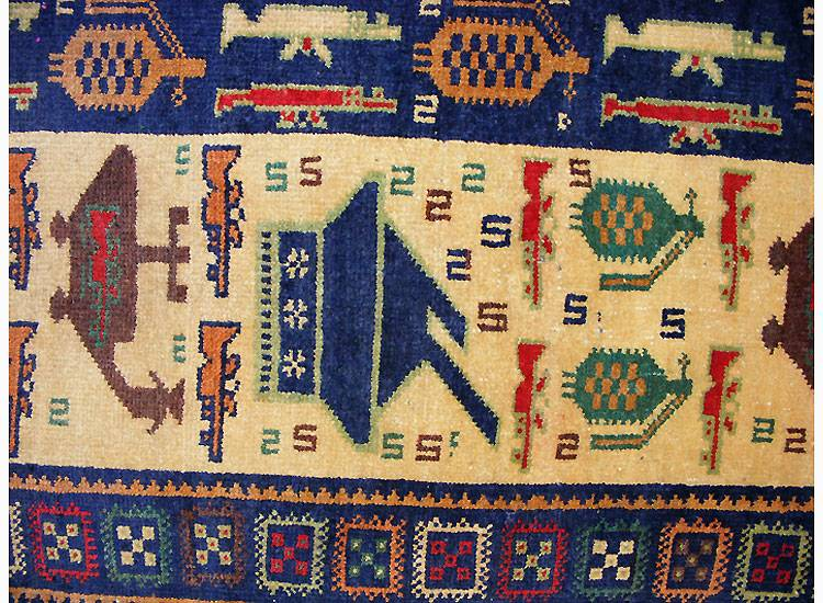 223 x 110 cm original  Kriegsteppich aus Afghanistan – handgeknüpft. Nr.20