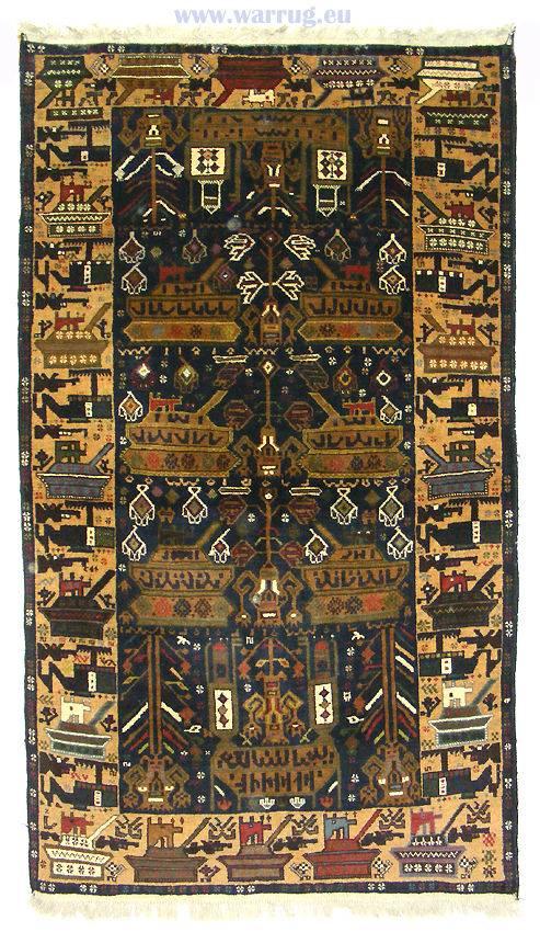 195 x 112 cm original  Kriegsteppich aus Afghanistan – handgeknüpft. Nr.23