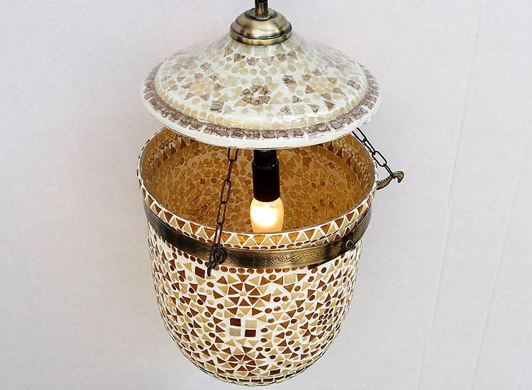 Glass Hundi Pendant Lamp With Single Fitting No:9