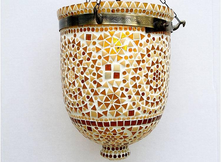 Hundi Pendelleuchte aus Glas mit Einzelfassung Mosaik Bell Jar Glas lampe Nr:9