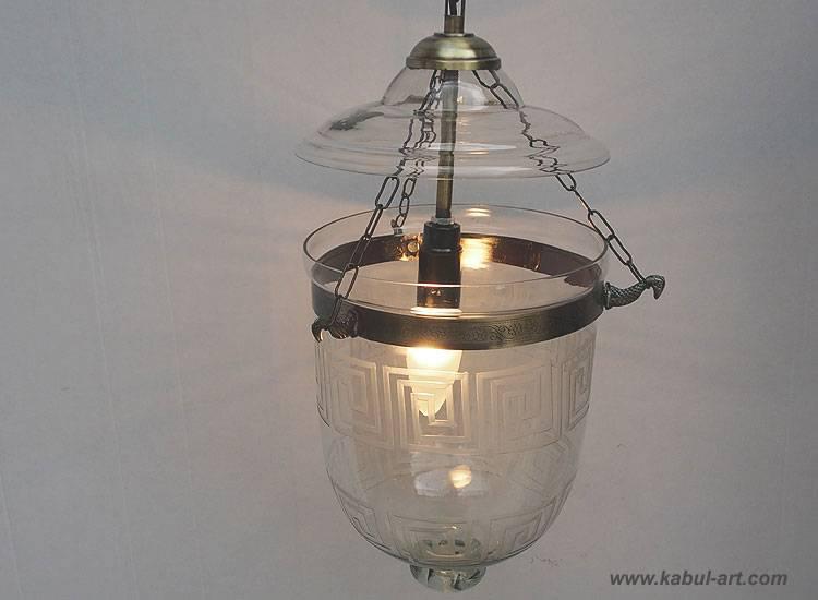 Bell Jar Glas lampe Greek Key Hundi Pendelleuchte aus Glas mit Einzelfassung