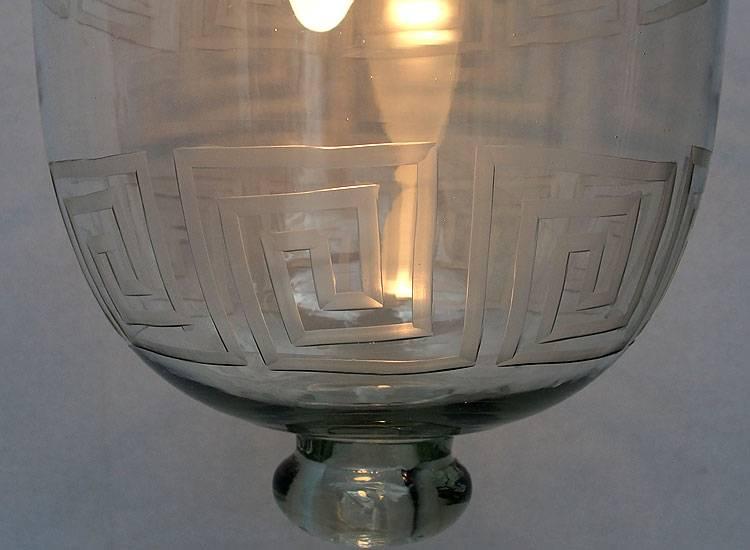 Glass Hundi Pendant Lamp With Single Fitting