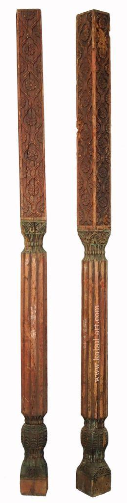 antique orient solid hand-carved wooden Pillar column from Nuristan Afghanistan ein Paar antike Säule Swat Nr-B
