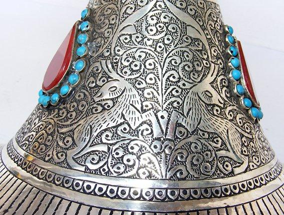 Extravagant handgearbeitete orientalische islamische Neusilber  neusilber Obstschale A