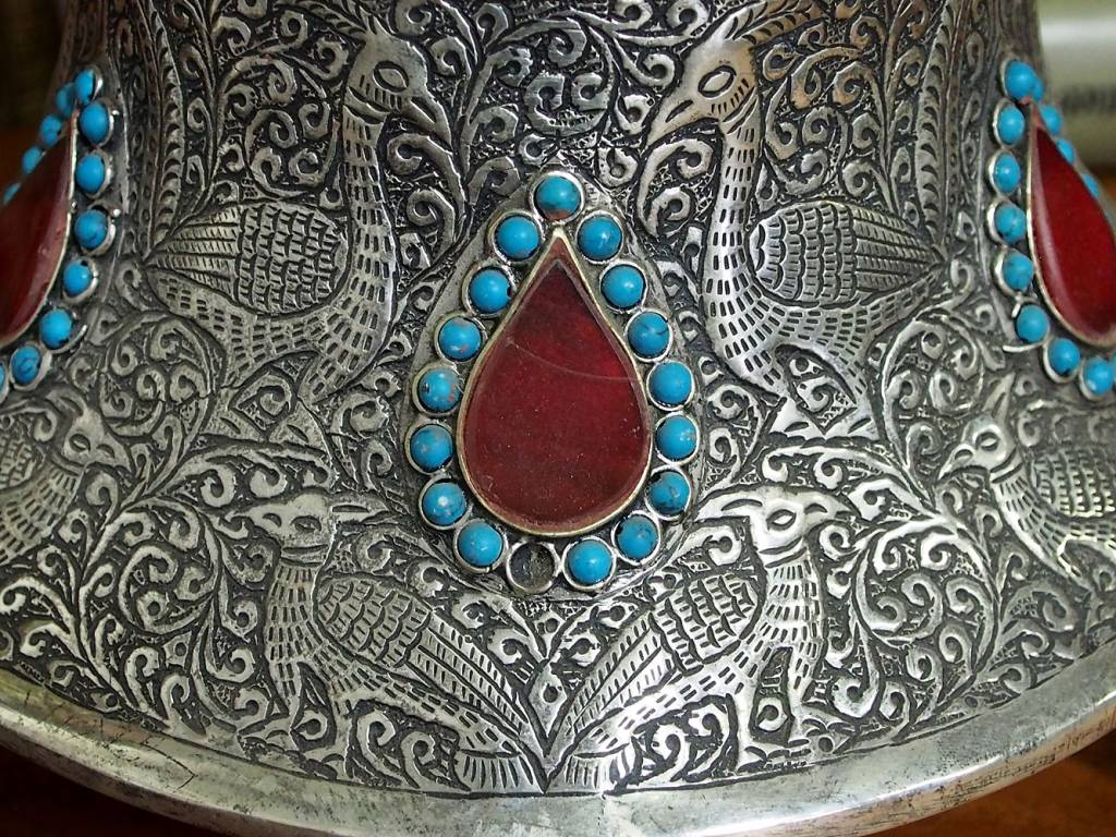 Extravagant handgearbeitete orientalische islamische Neusilber Neusilber teedose gefäß dose 01