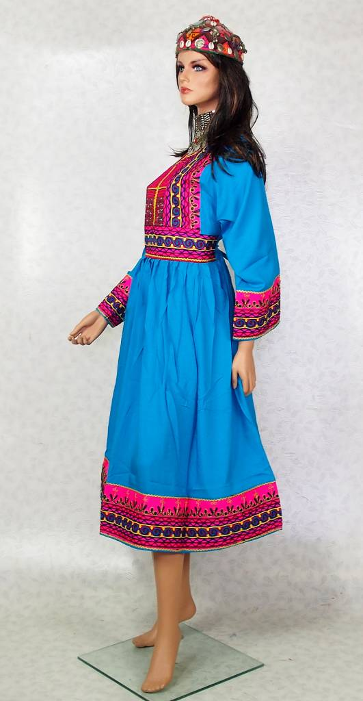 Afghani Nomaden Kleid  Tracht Türkis-blau 22