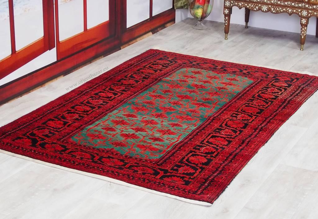 200x130 cm Turkmenische Kundoz Gruen Teppich Nr:16/11