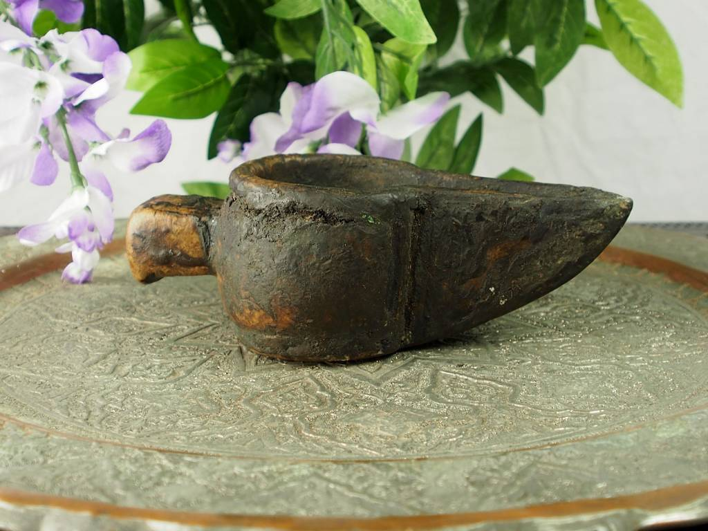 Rare carved Ghazni islamic Alabaster stone persan oil lamp in marble Afghanistan No:10
