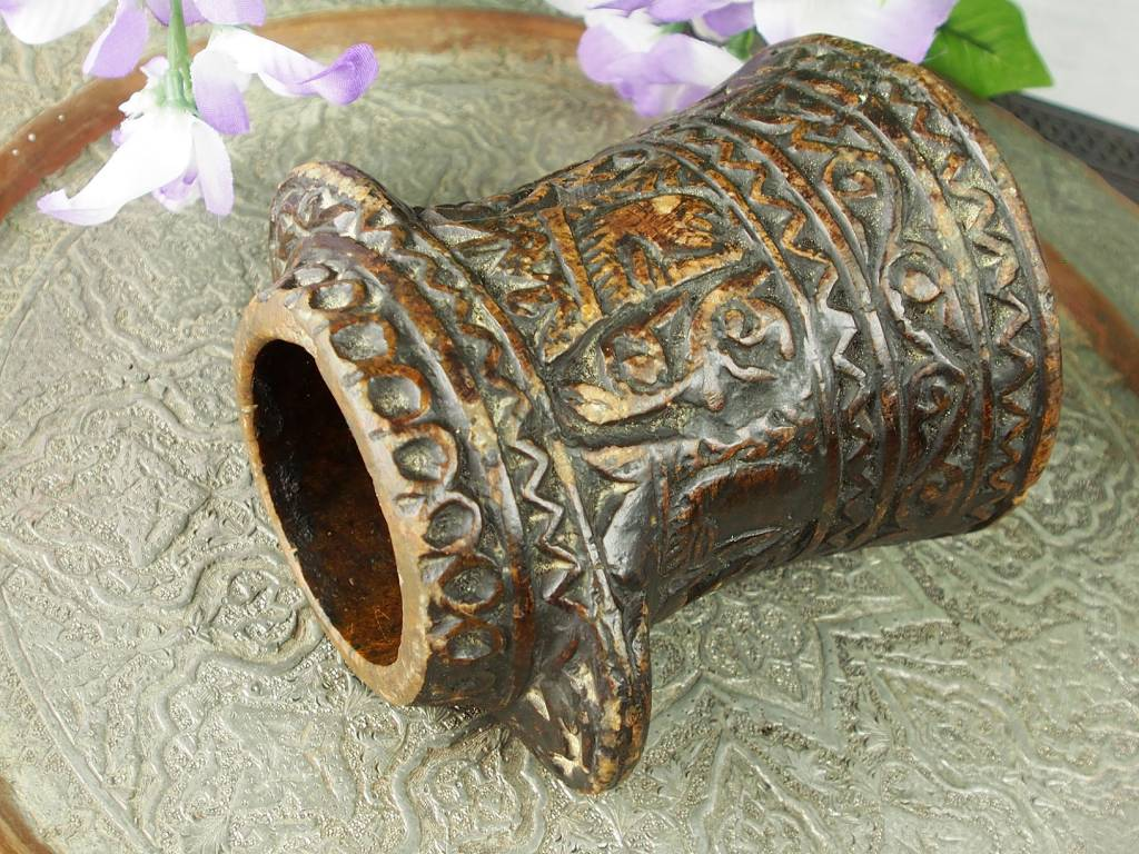 Rare carved Ghazni islamic Alabaster stone persan oil lamp in marble Afghanistan No:11