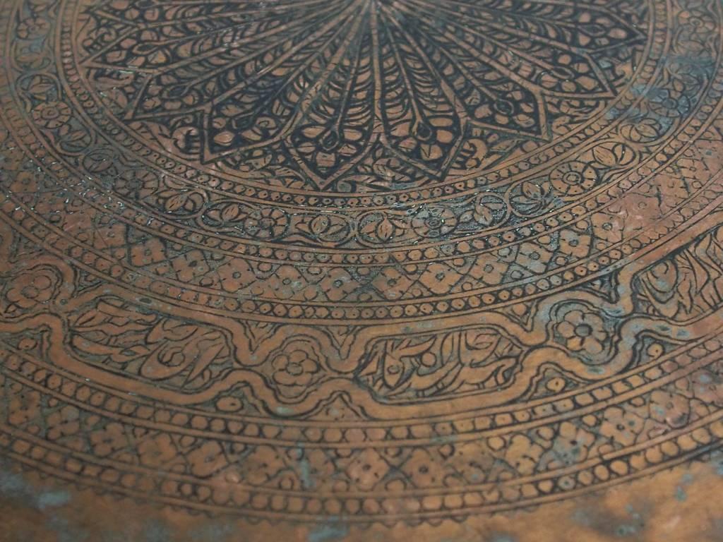 67 Ø antik osmanische islamische ägyptisch marokkanisch orient Kupfer tablett Teetisch Teller beisteltisch tisch aus Afghanistan No:19/7