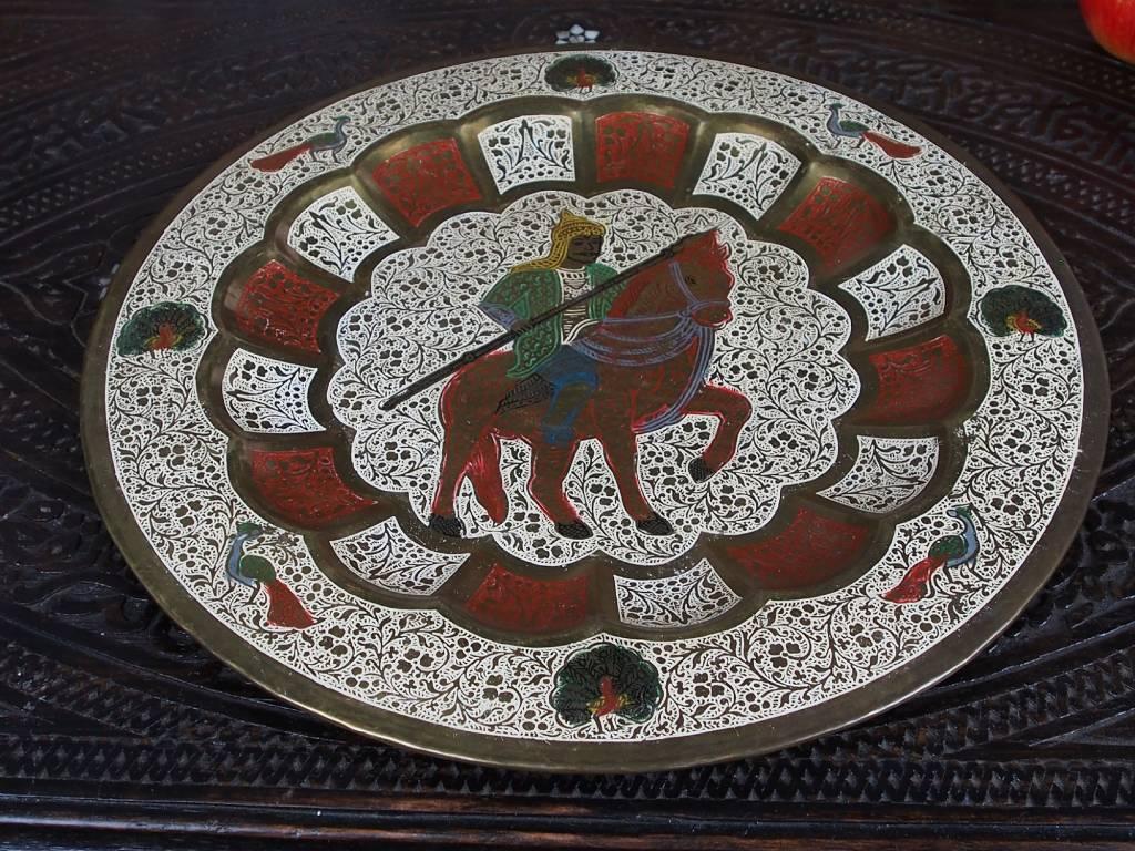 35 cm antique Indian enamel work brass plate tray No: K10