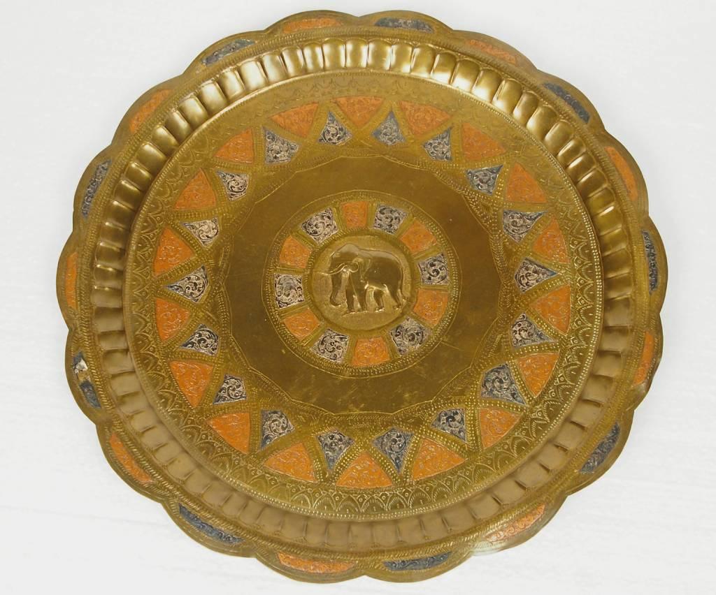 36 cm antik Messing tablett No: K 12