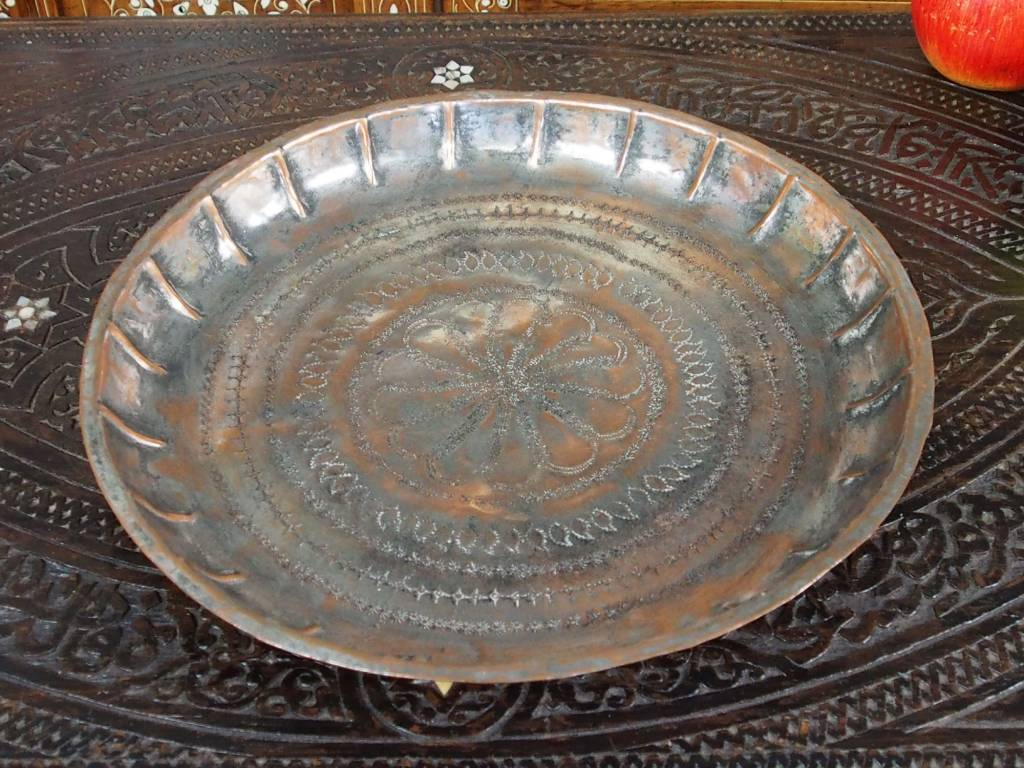 30 cm Antique ottoman orient Islamic Hammer Engraved  copper Tray Plate from Afghanistan K15