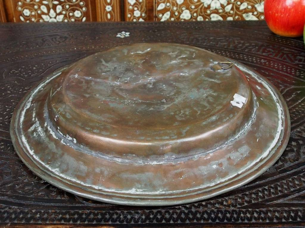 30 cm Antique ottoman orient Islamic Hammer Engraved copper Tray Plate from Afghanistan K16