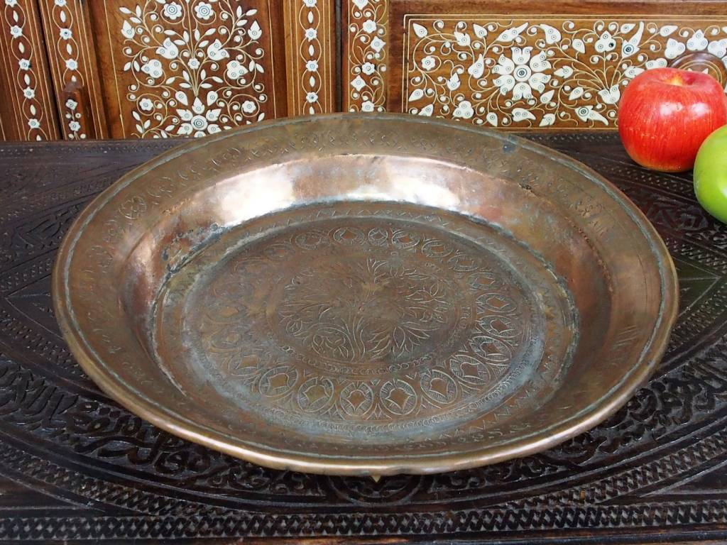 38 cm Antique ottoman orient Islamic Hammer Engraved  copper Tray Plate from Afghanistan K19
