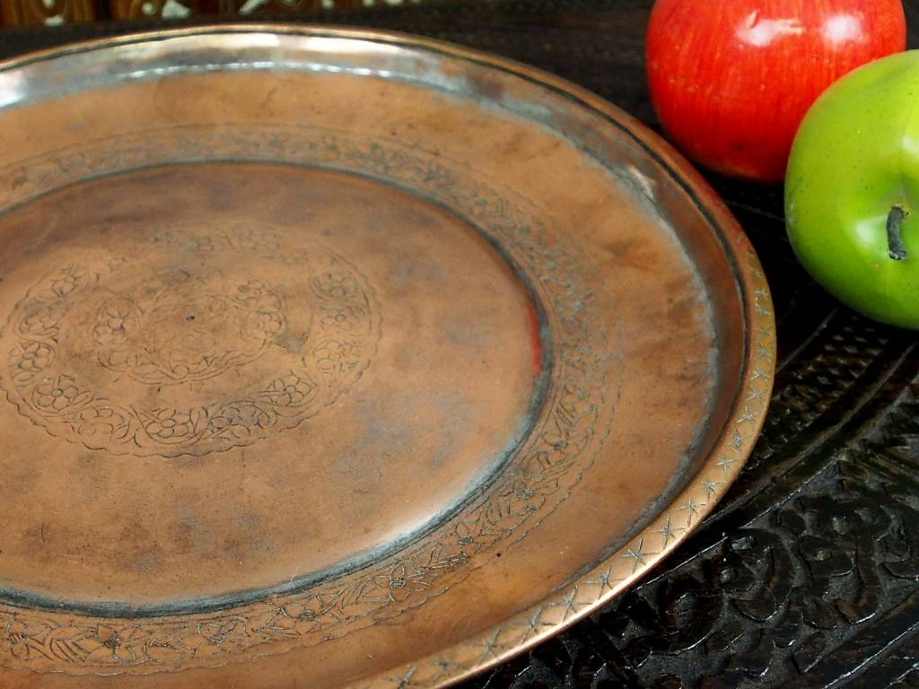 31 cm Antique ottoman orient Islamic Hammer Engraved copper Tray Plate from Afghanistan K23