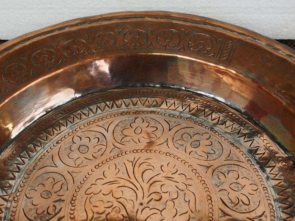 39 cm Antique ottoman orient Islamic Hammer Engraved copper Tray Plate from Afghanistan K25