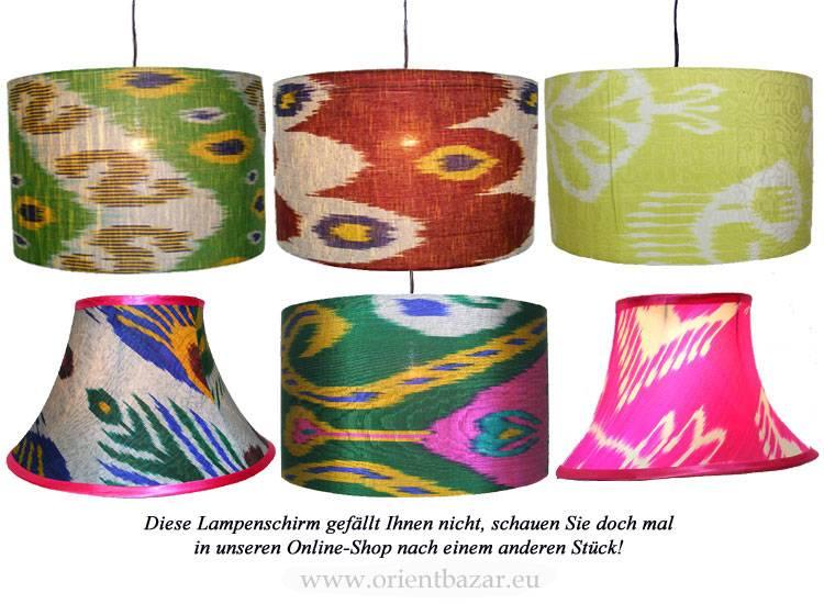 extravagant orient Uzbek Ikat stoff Schirm Lampenschirm Leuchtenschirm lampshade Nr:G