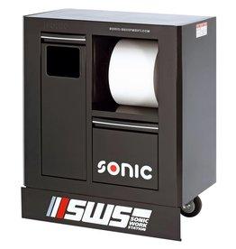 Sonic SWS 32`` Gereedschapwagen met afvalbak&papierrolhouder zwart