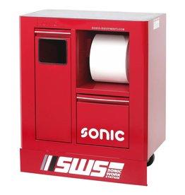 Sonic SWS 32`` Gereedschapwagen met afvalbak& papierrolhouder rood