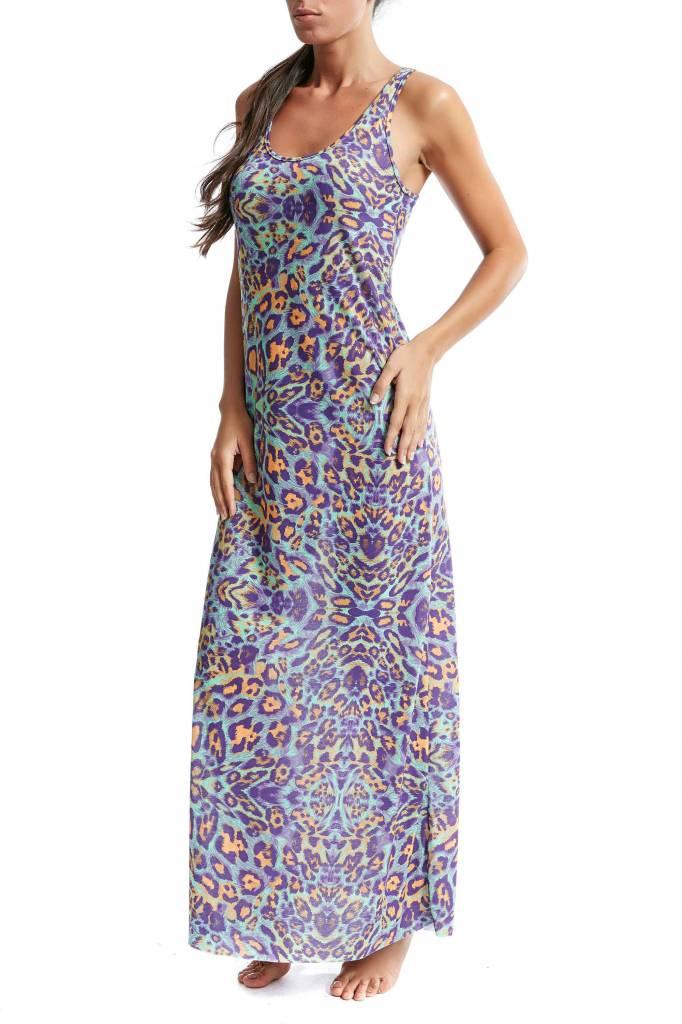 F**K multi colour Beach dress lang met mooie print