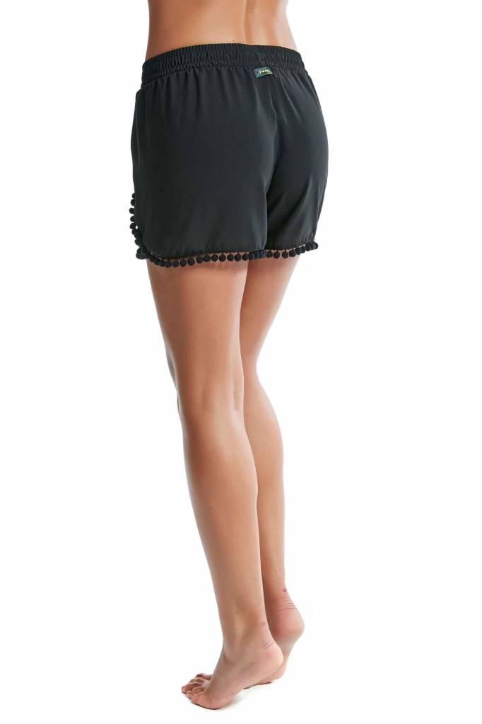 F**K zwarte short met ponpons