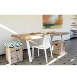 PURE wood design 'Arendal' industriele tafel steigerhout schuine poot staal