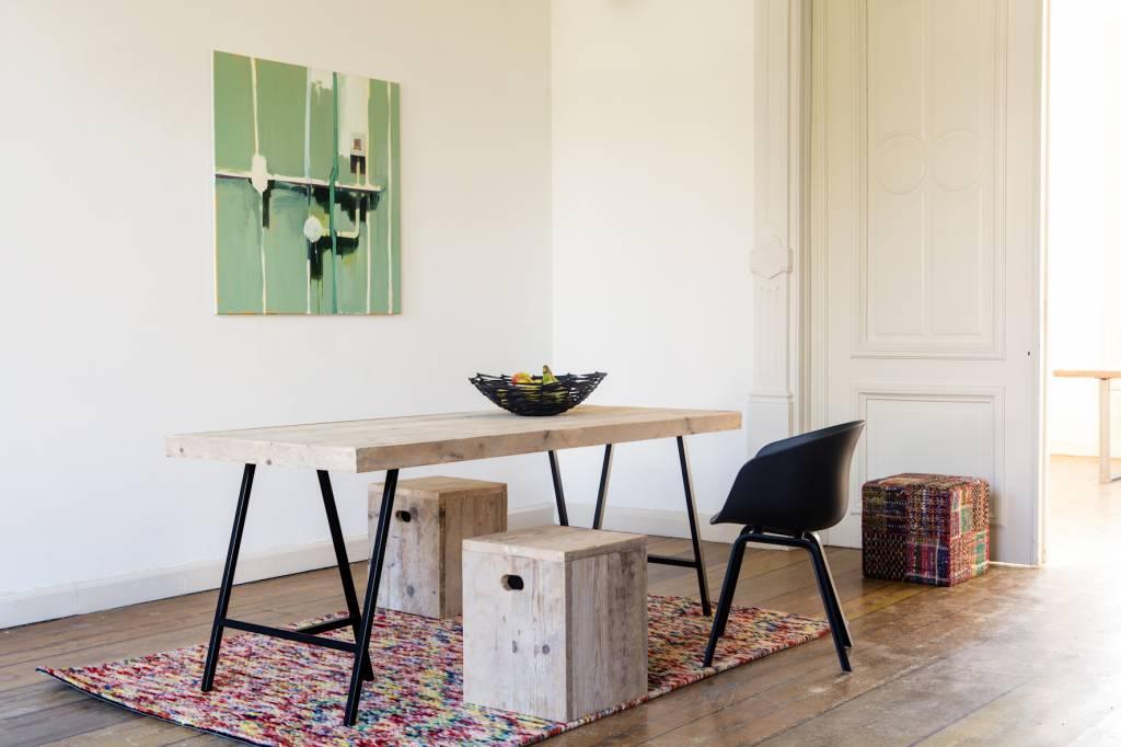 Tafel Steigerhout Karwei.Lystrup Industriele Tafel Van Steigerhout Schragen Pure Wood Design