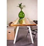 PURE wood design 'Harstad' tafel gekleurd sloophout/stalen poot