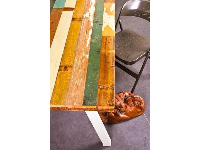 "PURE wood design ""Harstad"" Table en bois recyclé multicolore"