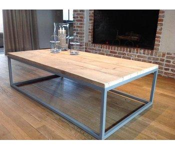 PURE wood design 'Dalvik' industriele salontafel steigerhout/stalen onderstel gesloten