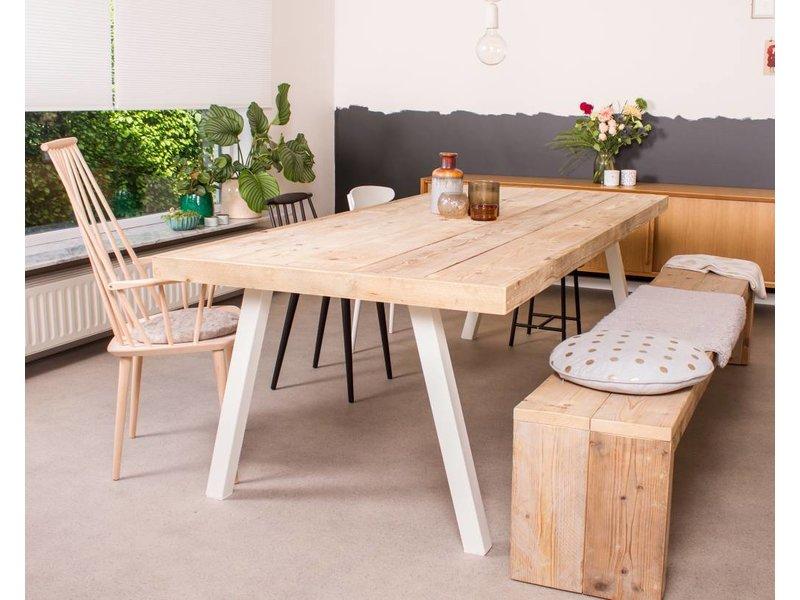 Pure wood design industriële tafel steigerhout zwevend blad stalen