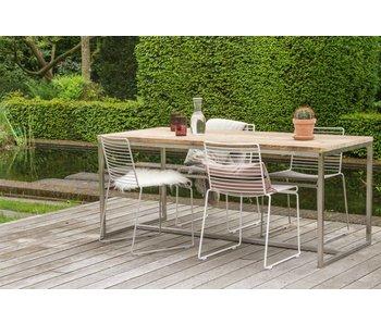 PURE wood design 'Alta' Industriele tafel steigerhouten blad/RVS frame