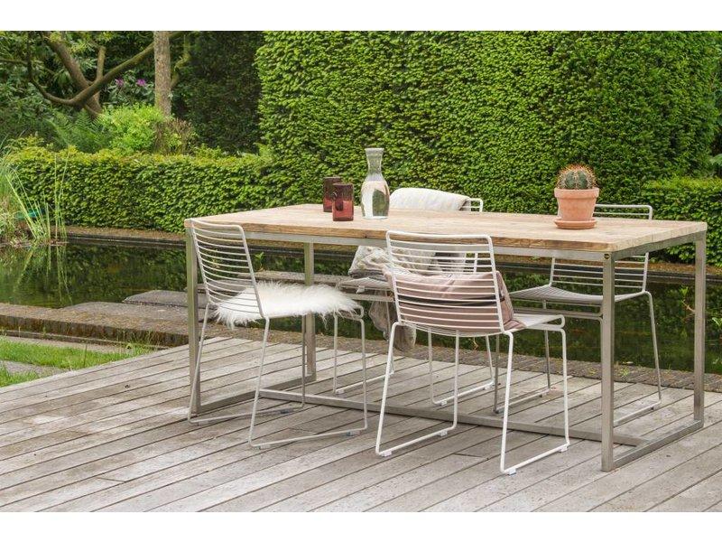 PURE wood design 'Alta ' Industriele tafel steigerhouten blad/rvsframe