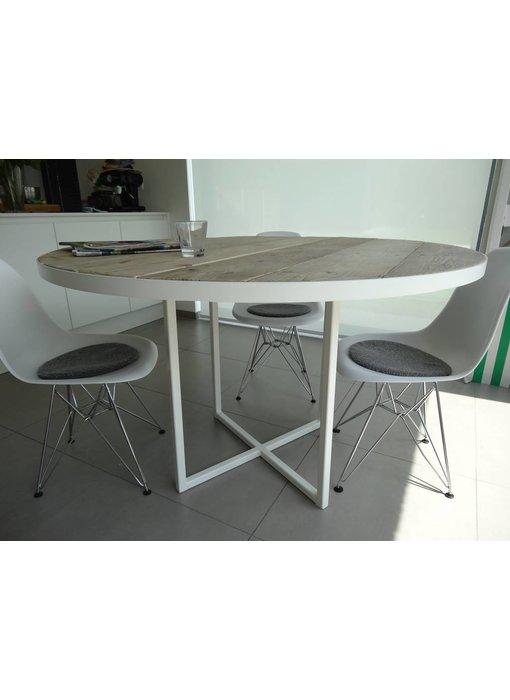 PURE wood design 'Ringsted' industriele ronde tafel steigerhout/rond frame
