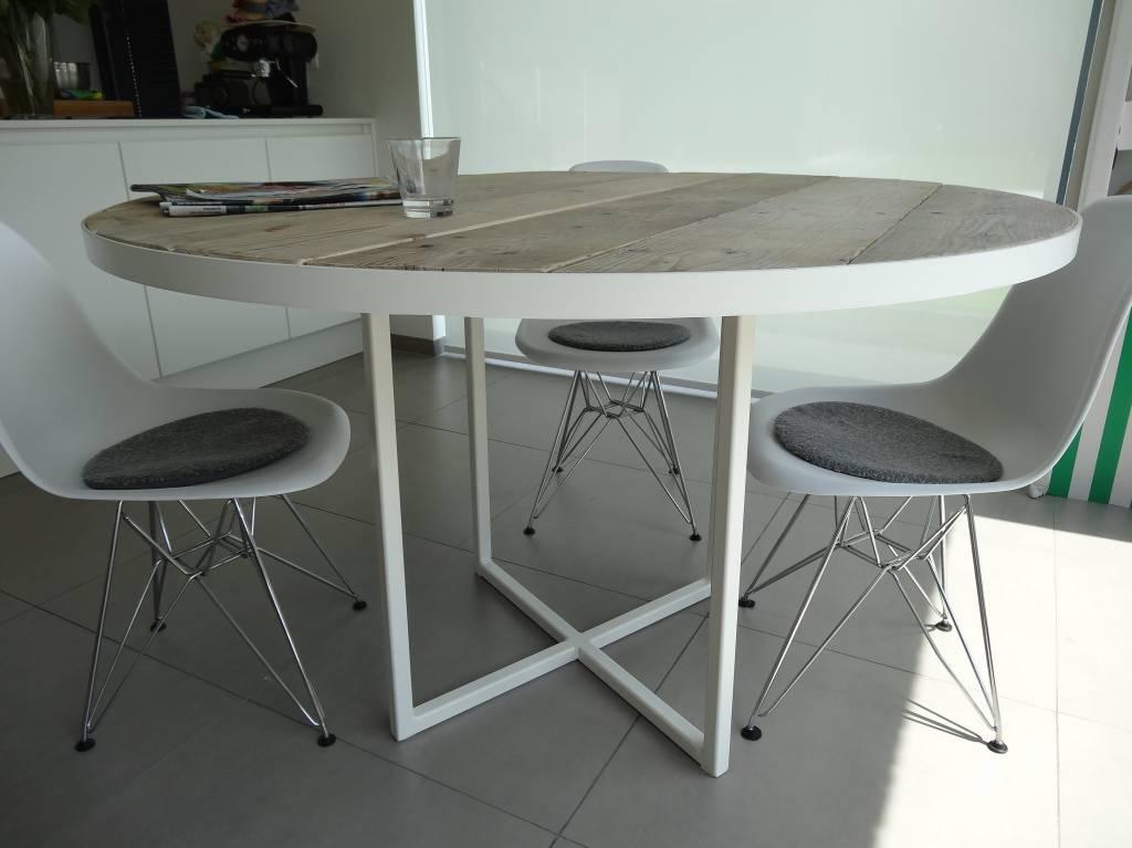 Eettafel White Wash.Industriele Ronde Tafel Steigerhout Rond Frame Pure Wood Design