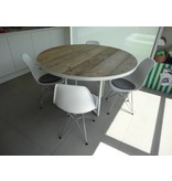 PURE wood design 'Ringsted' ronde industriele tafel steigerhout/rond frame
