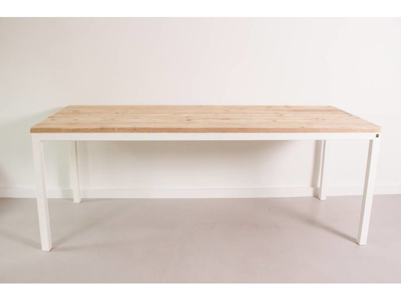 PURE wood design 'Flora' industriële tafel steigerhout rechte poten staal