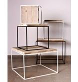 PURE wood design Table basse en pin recyclé et métal