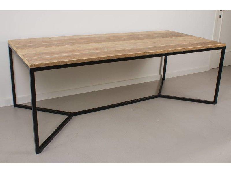 Metalen Onderstel Tafel : Farstad industriele tafel steigerhout stalen frame kruis pure