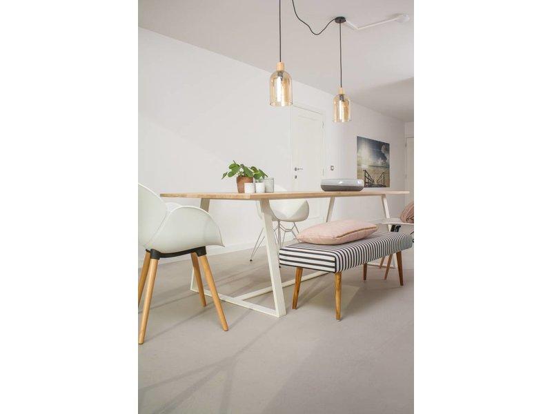 PURE wood design 'Soborg' eikenhouten tafel/onderstel schuin leggers