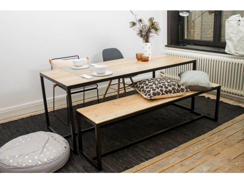 PURE wood design 'Hedensted' Industriele bank steigerhout/stalen frame