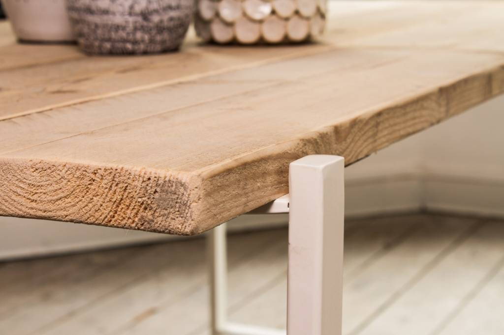 Stalen Design Tafel.Pure Wood Design Industriele Tafel Steigerhout Zwevend Blad Stalen