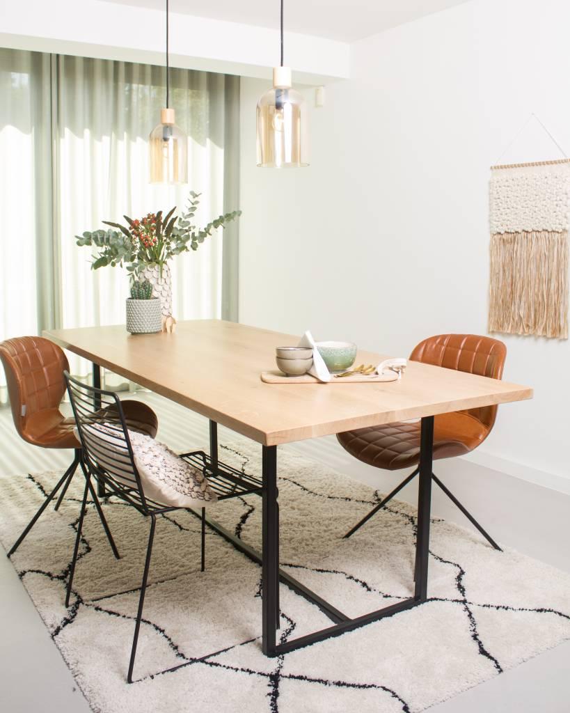 39 flackberg 39 eiken tafel met stalen frame pure wood design for Eiken design tafel