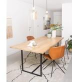 PURE wood design 'Flackberg' eiken tafel met stalen frame